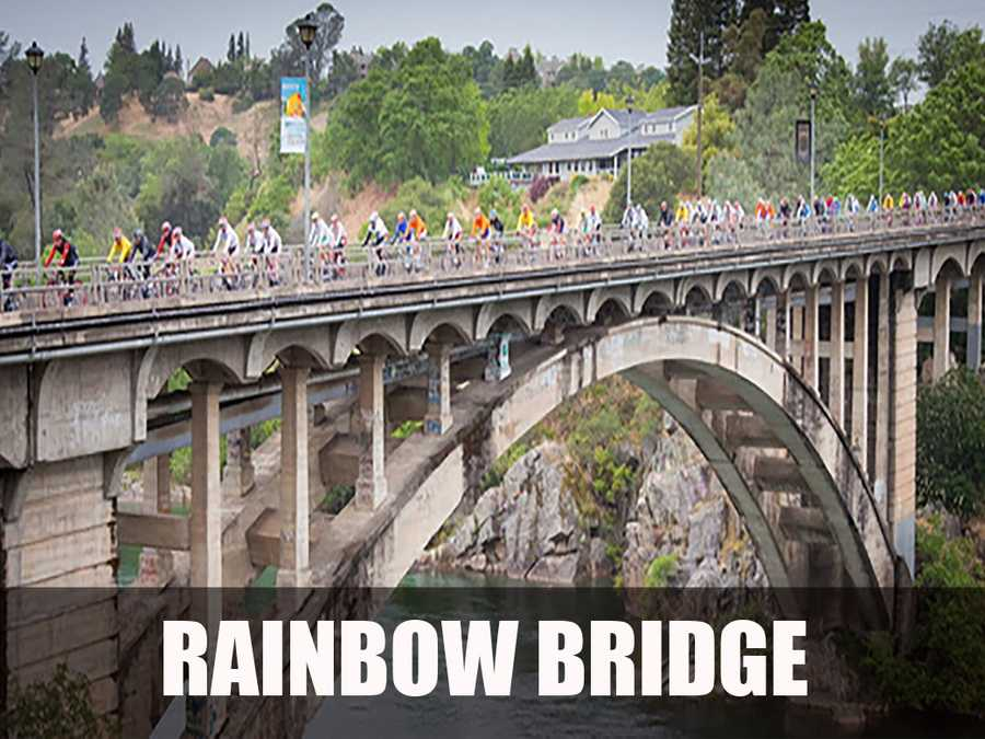 The Rainbow Bridge crosses the upper end of Lake Natoma on the American River and acts as a major connection for businesses and residents on both sides of the river. (Source: http://www.folsombridges.com/rainbow/index.htm)