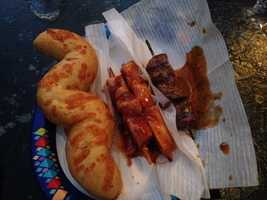 5. Skewers: The Bengal Barbecue in Adventureland (across from Indiana Jones) offers a little something for everyone. Hungry tourists can grab a beef, chicken, bacon-wrapped asparagus or fresh vegetable skewer covered in tasty sauces at the outdoor stand. Also available: Tiger tails (aka bread sticks sprinkled with cheese), fruit and chips.