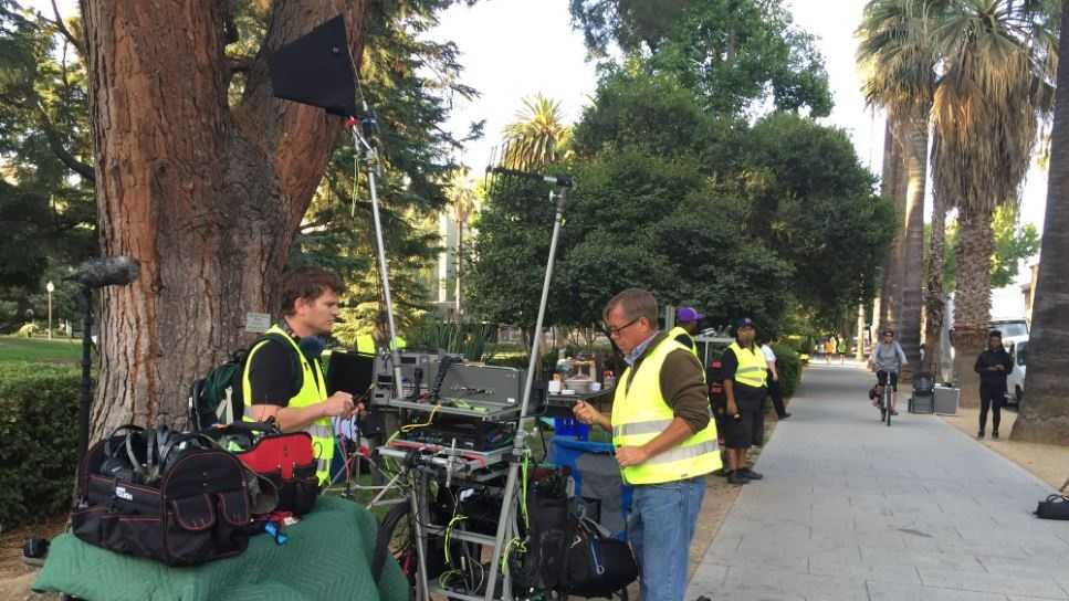 """Stranded"" began filming in front of the state Capitol on Monday."