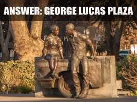 The statue is located at Five Points, which are the intersections of McHenry Avenue, J Street, 17th Street, Downey Aveue and Neddham Street.