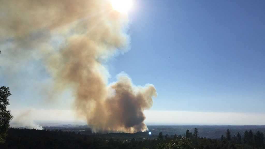 A wildfire that ignited south of Paradise, Calif., in Butte County, produced this large plume of smoke on Monday, Sept. 5, 2016.