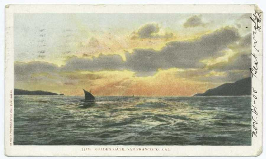 A postcard from the Detroit Publishing Company shows a sailboat at sunset in San Francisco.
