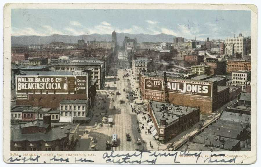 A postcard from the Detroit Publishing Company gives a look down Market Street before the 1906 earthquake and fire.
