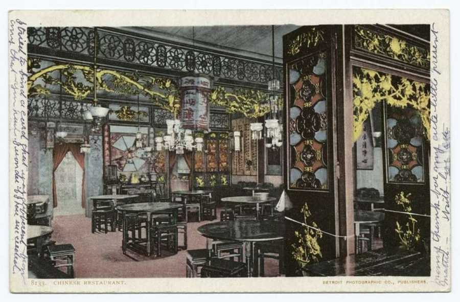 "A postcard from the Detroit Publishing Company shows an ornate Chinese restaurant in San Francisco. ""I tried to find a card that was different from any that you had. I wonder if I have succeeded,"" someone wrote on it."