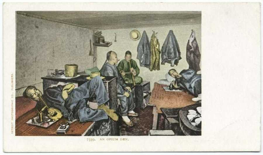 A postcard from the Detroit Publishing Company that shows an opium den in San Francisco.