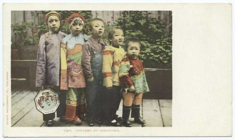 "A postcard from the Detroit Publishing Company shows ""The Children of Chinatown."""