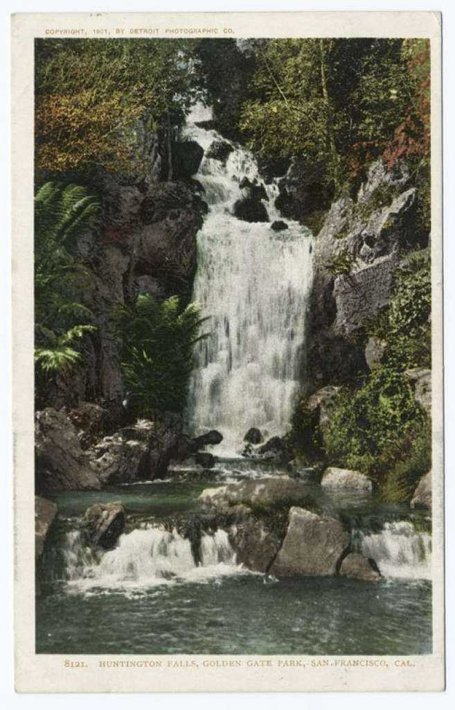 A postcard from the Detroit Publishing Company shows Huntington Falls in Golden Gate Park in San Francisco.
