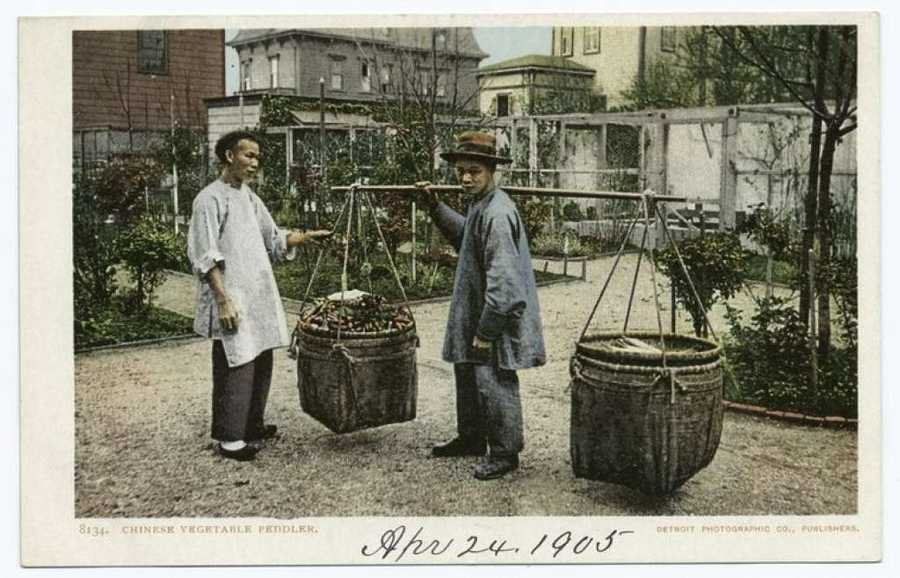 A 1905 postcard from the Detroit Publishing Company shows Chinese vegetable sellers in San Francisco.