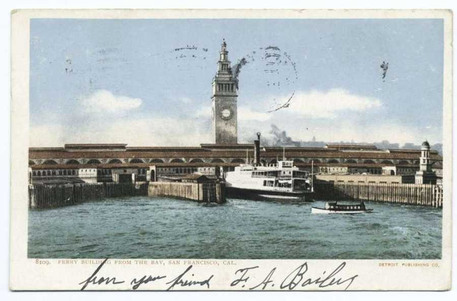 A postcard from the Detroit Publishing Company shows the Ferry Building of San Francisco.