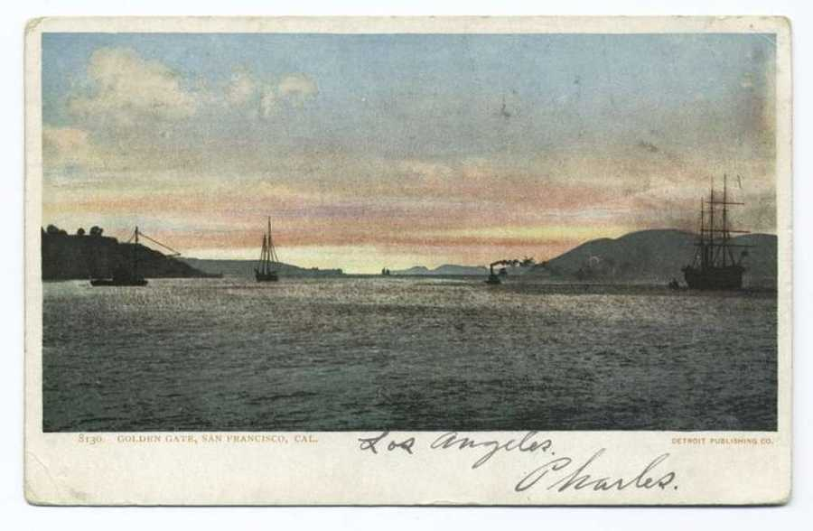 A postcard from the Detroit Publishing Company shows ships at sunset in the San Francisco Bay.