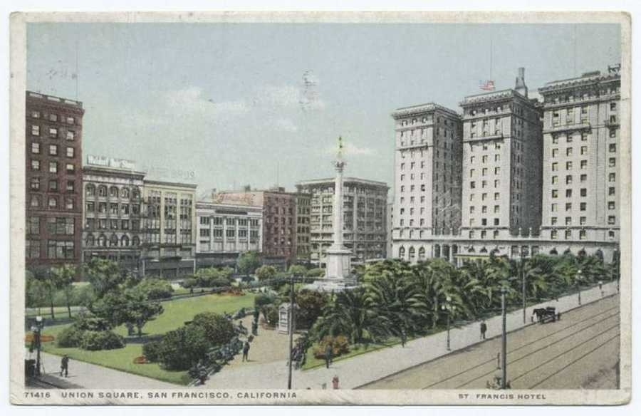 A postcard from the Detroit Publishing Company shows Union Square in San Francisco.