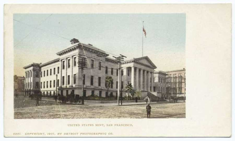 A postcard from the Detroit Publishing Company shows the old US Mint building in San Francisco.