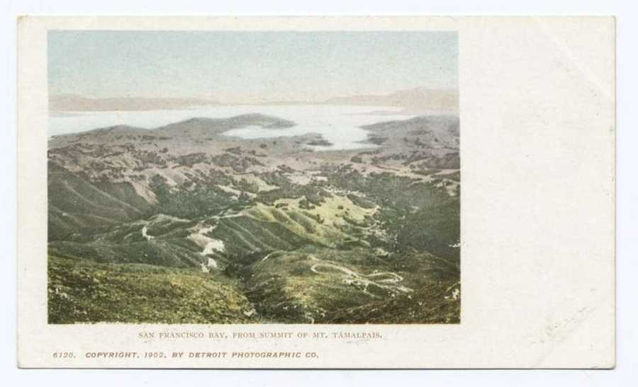 A postcard from the Detroit Publishing Company shows the view of San Francisco Bay from Mt. Tamalpais.