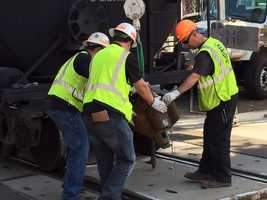 UP and BNSF workers replace the failed coupler that crippled a train in downtown Sacramento.