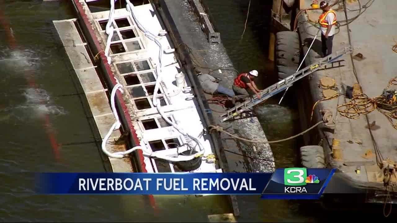 Crews are working to remove a sunken paddle wheel boat – the Spirit of Sacramento – from the Delta