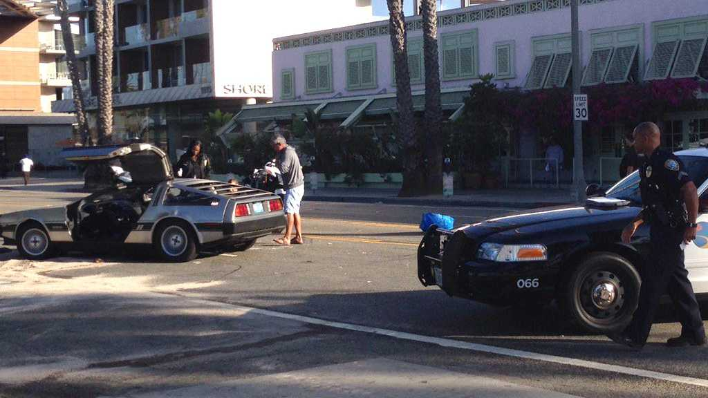 Santa Monica police investigate after a car chase ends in a crash on Thursday, Sept. 15, 2016. The suspect stole a DeLorean and led police on a chase.