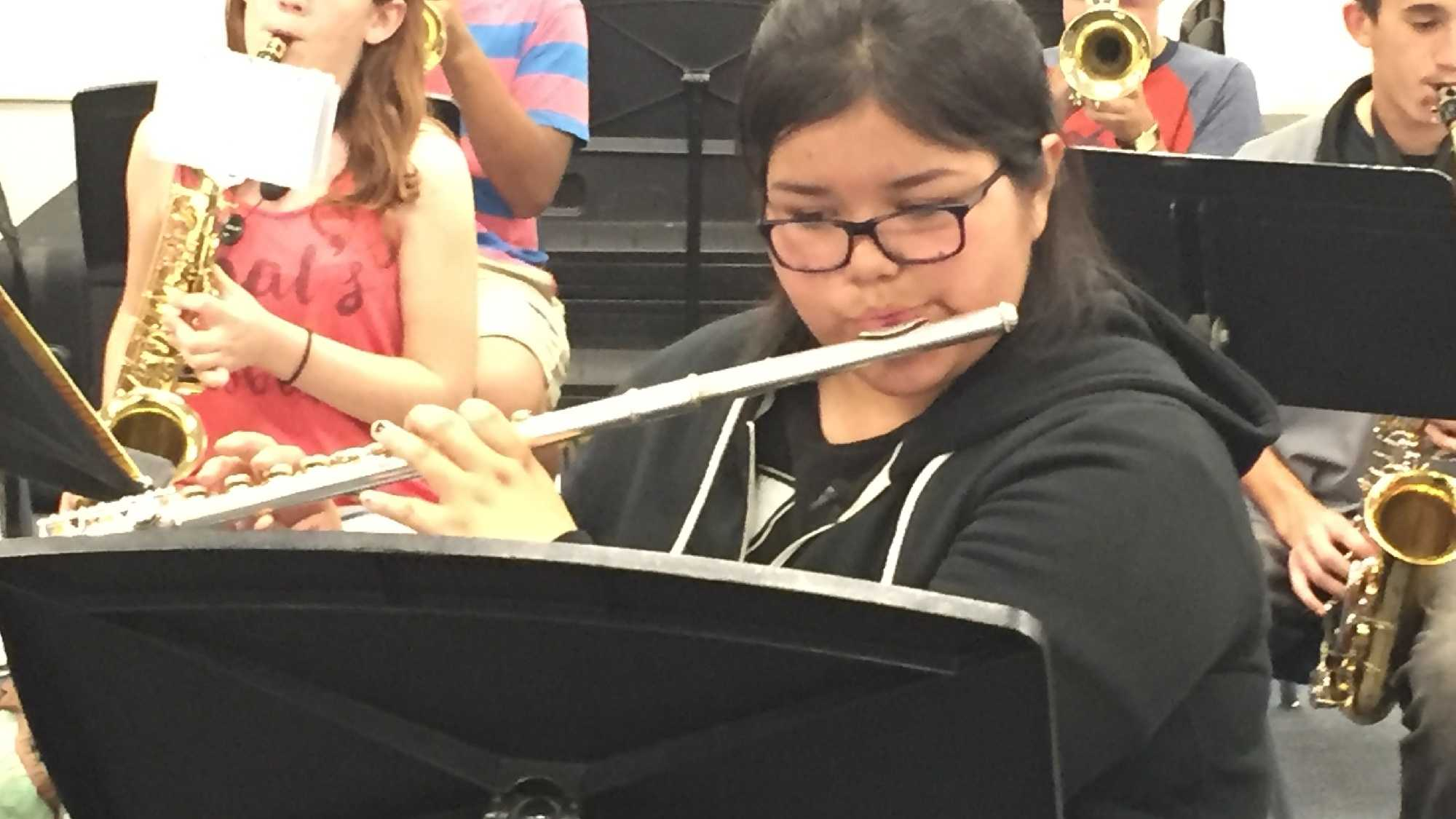 Leilani Thomas, 14, plays the flute during band practice on Thursday, Sept. 15, 2016, at Lower Lake High School.