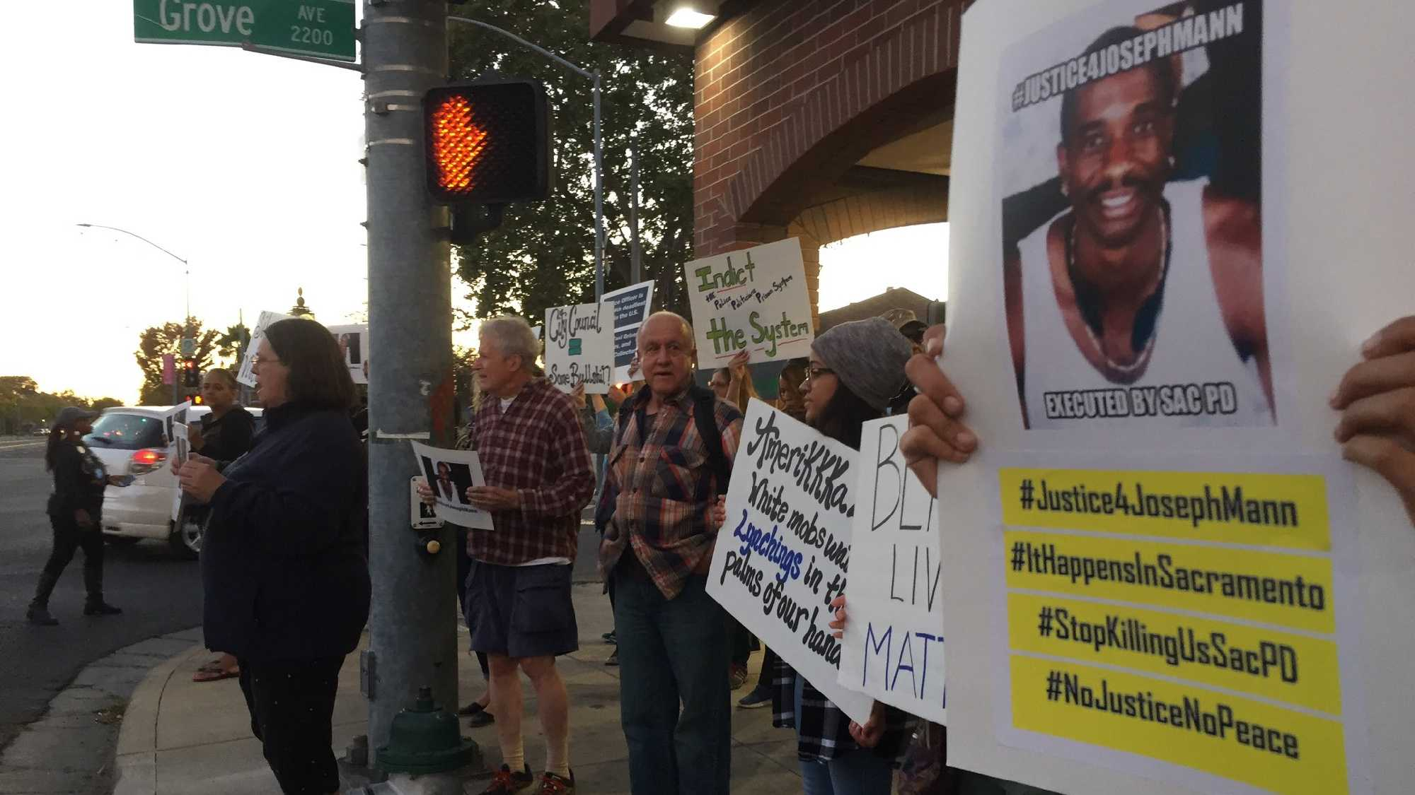 Protesters gathered in Del Paso Heights, a Sacramento neighborhood, on Wednesday, Sept. 21, 2016.