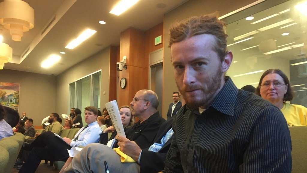 Sean Thompson sits during a Sacramento City Council meeting on Tuesday, Sept. 27, 2016, before speaking during the public comment section.