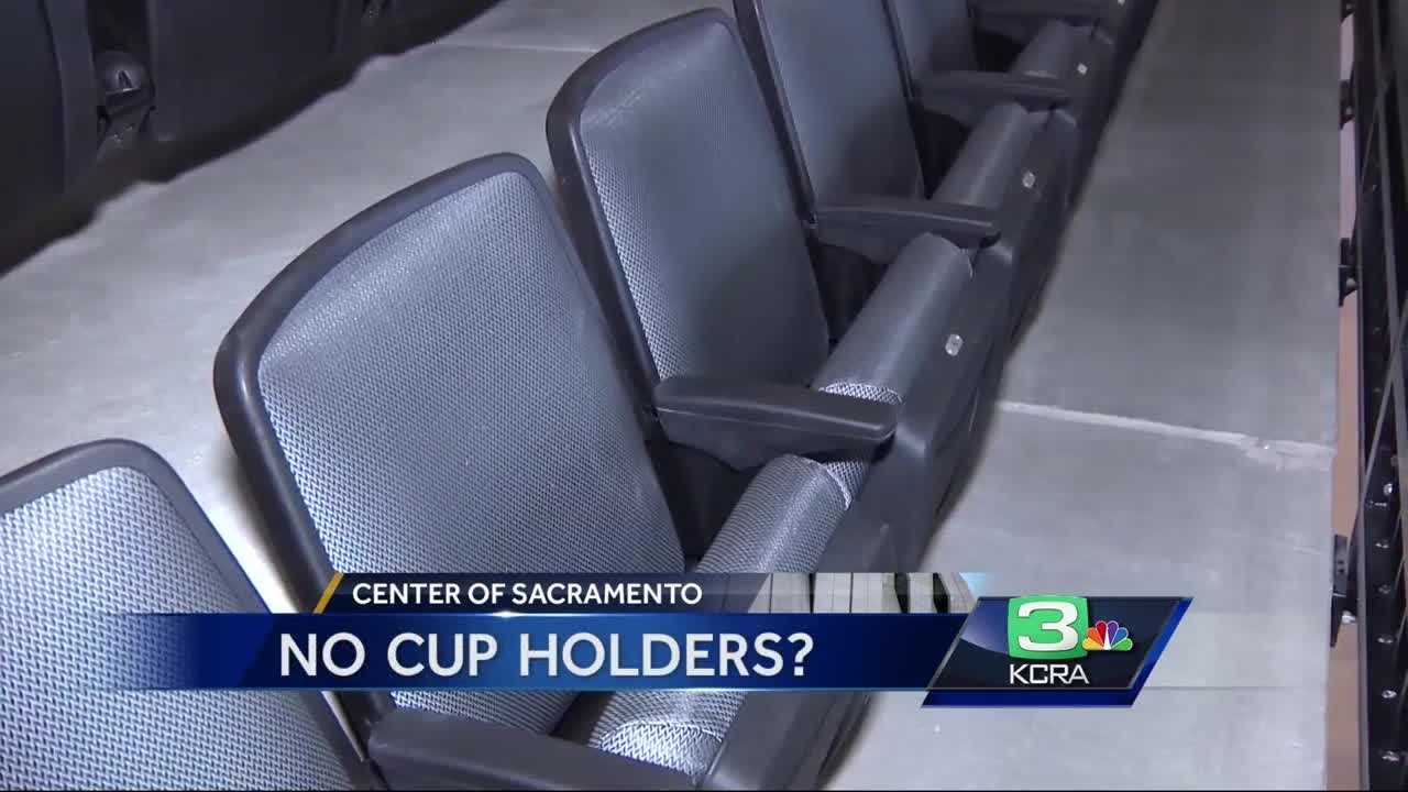 Yes, there are no cup holders in for the upper level seats in the new Golden 1 Center.
