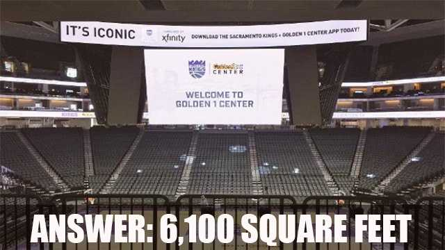 The scoreboard at the arena is one of the largest screens in the NBA at 6,100 square feet.