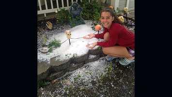 Crazy hail storm passes through Roseville