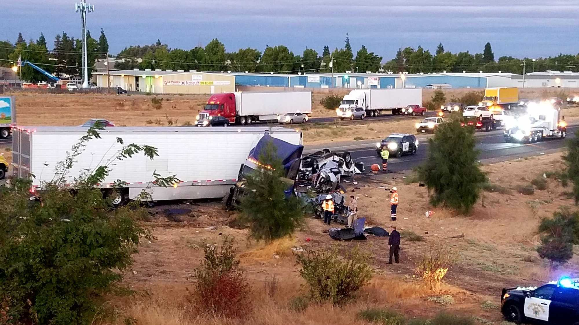 California Highway Patrol investigates a deadly 6-vehicle crash on Highway 120 in Escalon on Monday, Oct. 3, 2016.