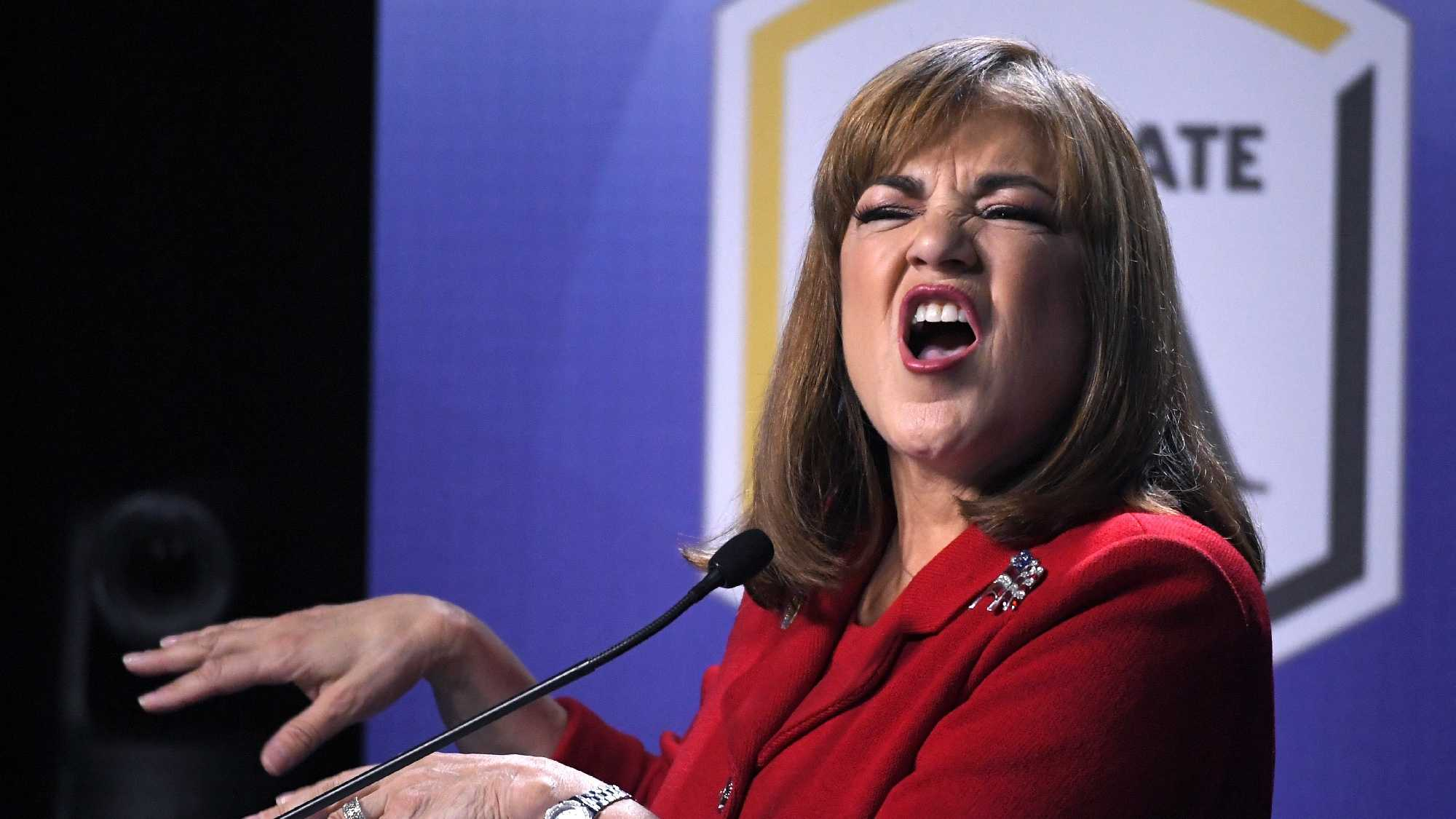 California U.S. Senate Democratic candidate Congresswoman Loretta Sanchez speaks during a debate against California Attorney General Kamala Harris, Wednesday, Oct. 5, 2016, in Los Angeles.