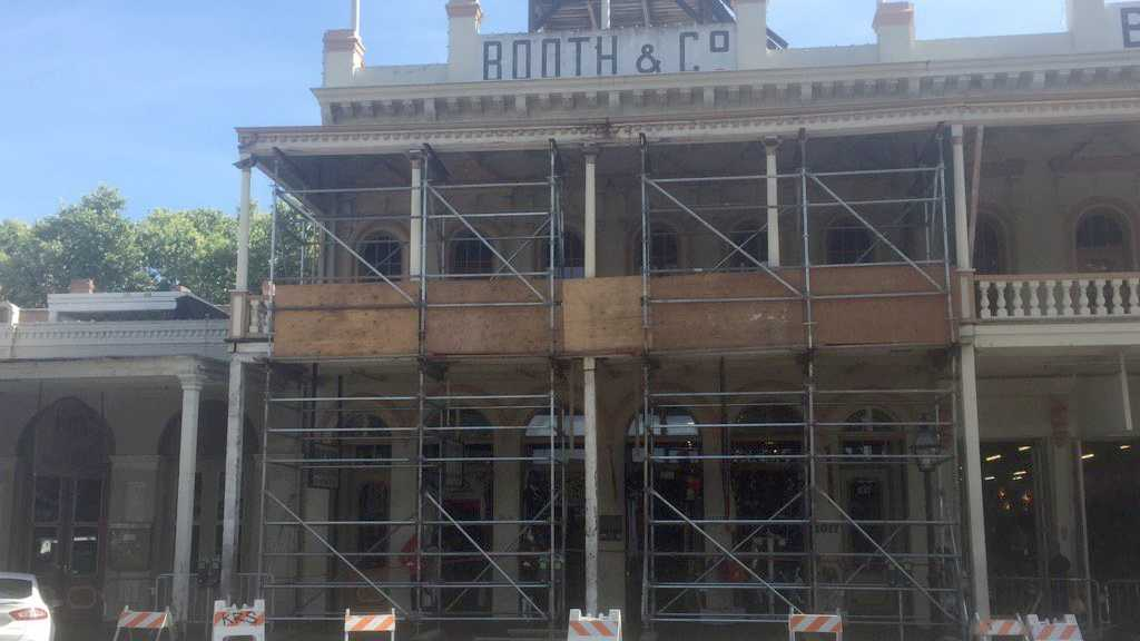 Scaffolding is holding up balconies in Old Sacramento after an employee spotted dry rot on the buildings.
