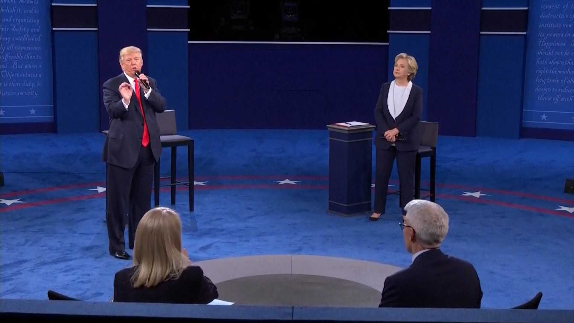 Republican presidential nominee Donald Trump and Democratic presidential nominee Hilary Clinton debate on Sunday, Oct. 9, 2016, at Washington University in St. Louis.