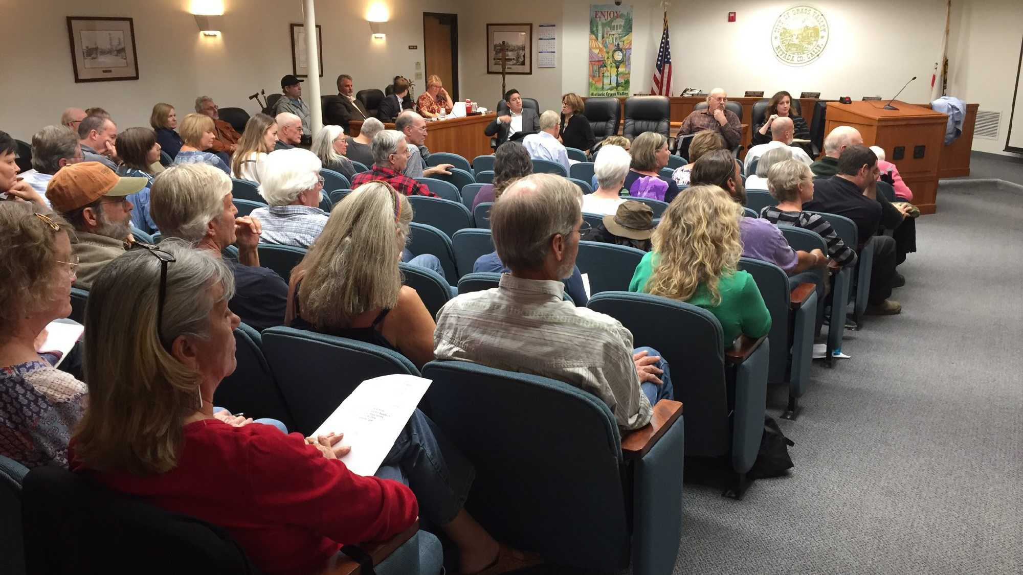 Grass Valley residents attend a town hall meeting on Tuesday, Oct. 11, 2016, about the homeless population.