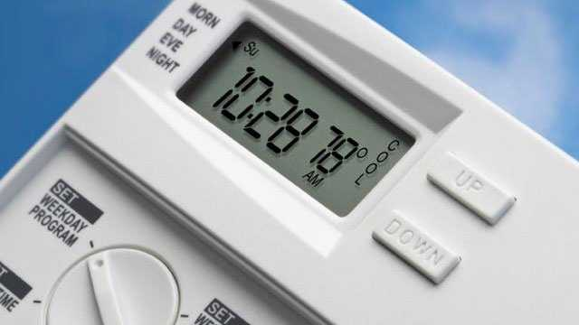 Programmable thermostat against blue sky