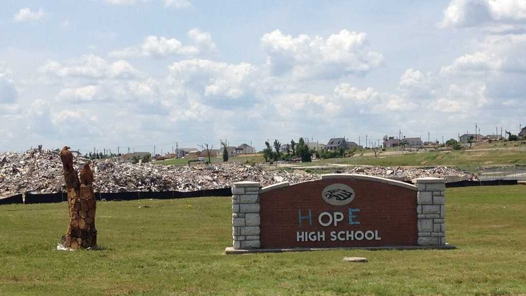 Duct tape replaces missing letters and gives a new name to Joplin High School.  Groundbreaking for the new school will take place on the one-year anniversary of the tornado.