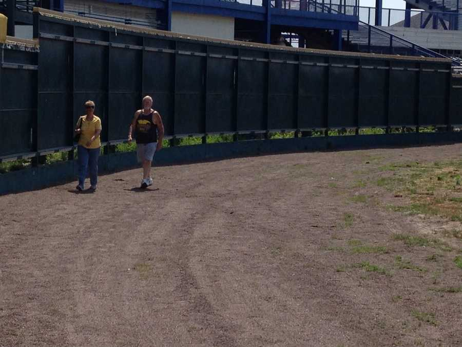 All the advertising and padding has been removed from the outfield fence.