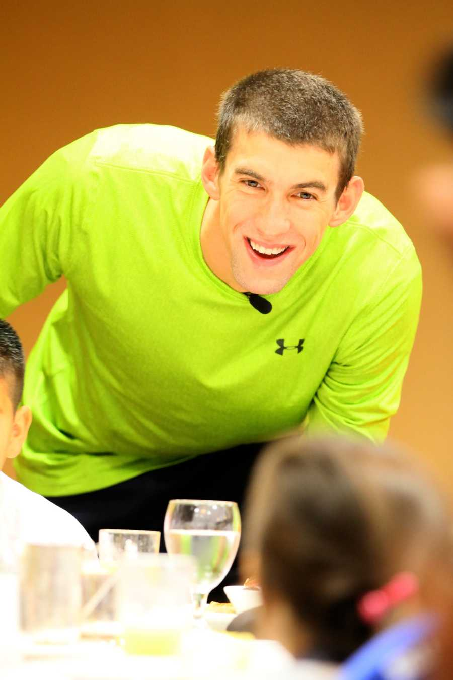 Phelps spoke to the youngsters about his first visit to the pool when he was seven years old.