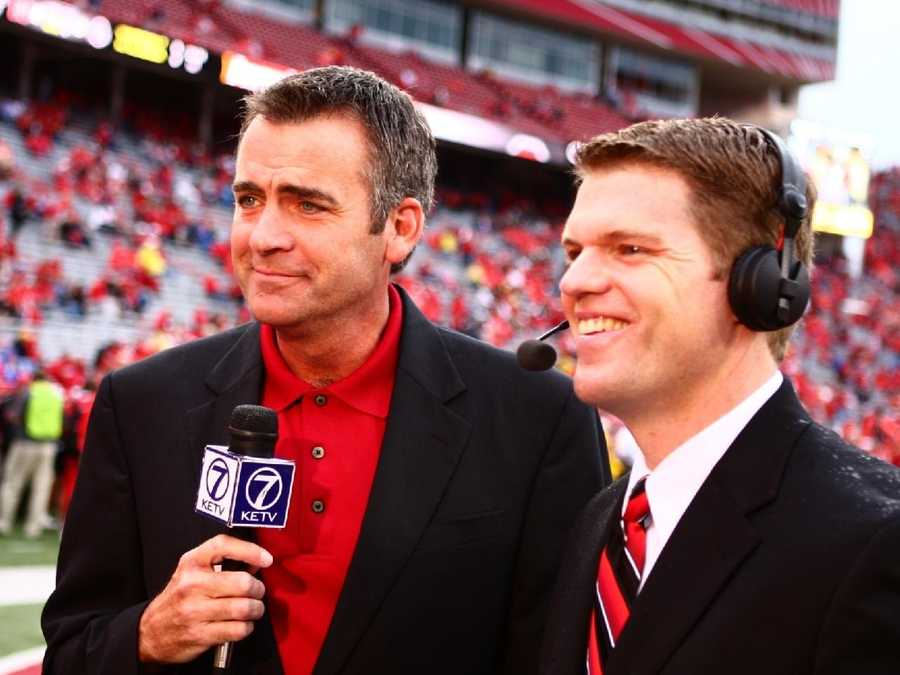 KETV NewsWatch 7's Rob McCartney and Andy Kendeigh getting ready for a pre-game show.