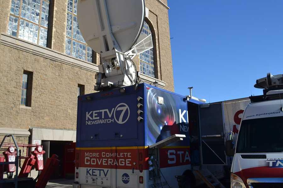 Channel 7's satellite truck outside Ft. Randall Stadium in Wisconsin.