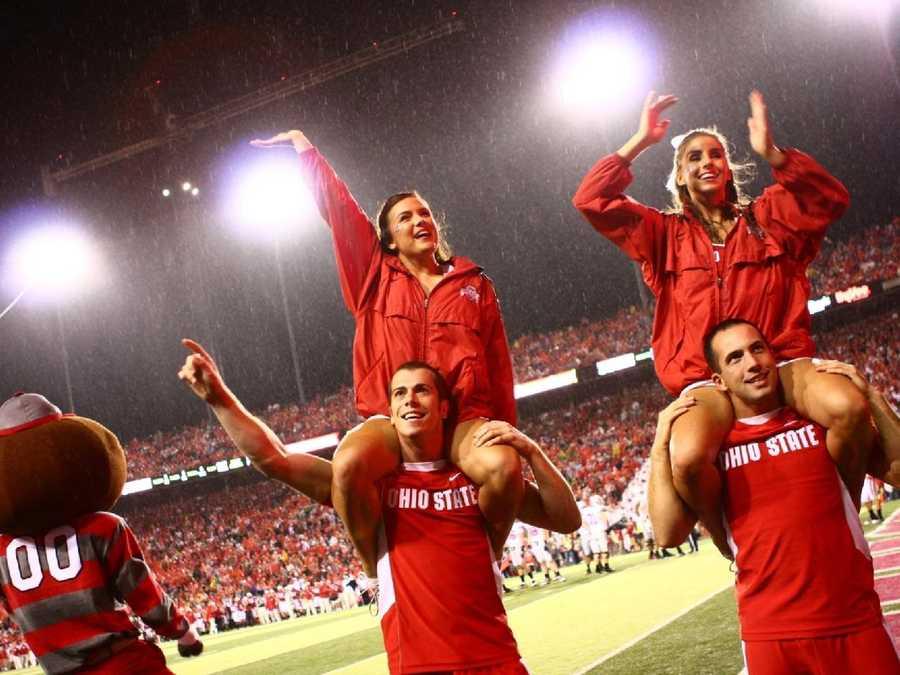 Buckeye cheerleaders at the Ohio State game.