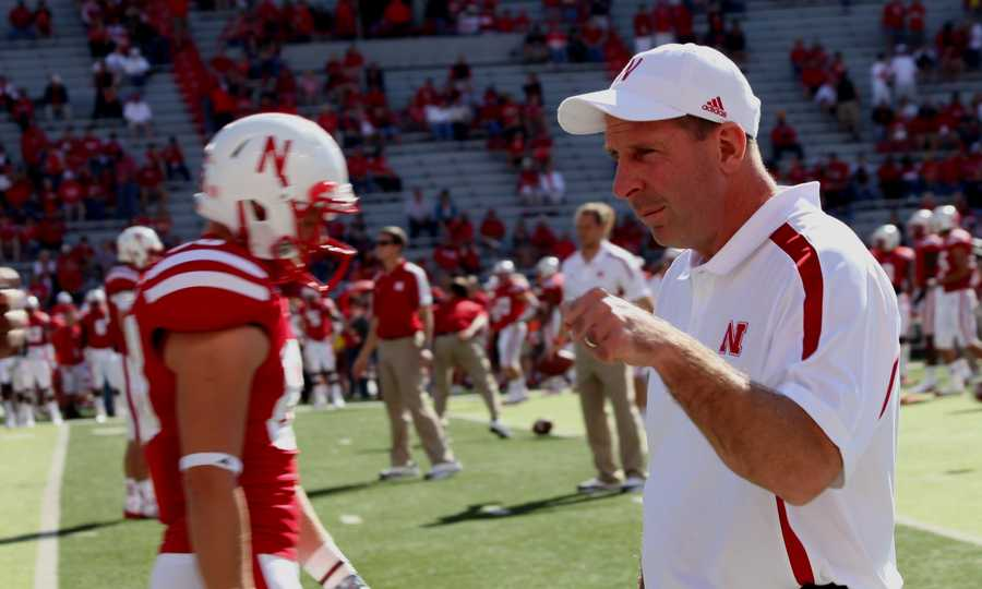 Bo Pelini at the pre-game warm ups before being taken to the hospital with flu-like symptoms during the game.
