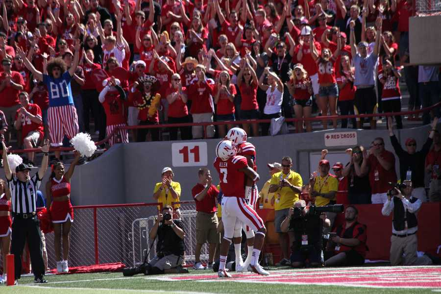 Kenny Bell celebrates after a 42 yard touchdown pass from Taylor Martinez in the first quarter.