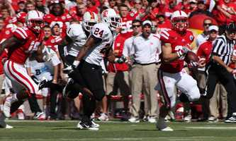 Bo Pelini looks on as Burkhead takes it to the end zone.