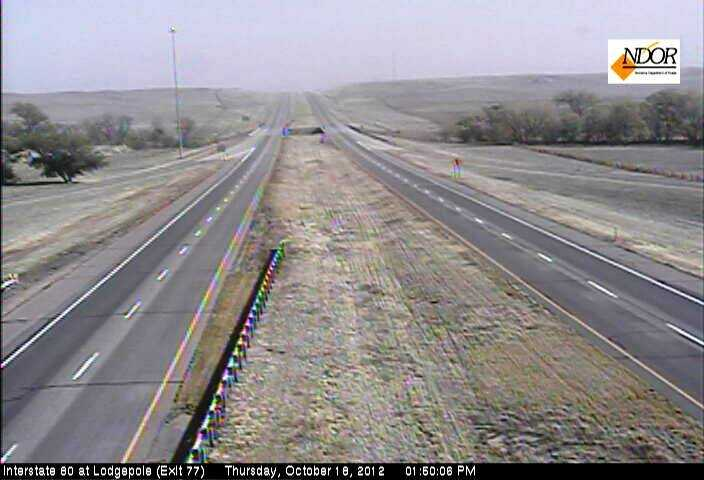 Interstate 80 appears deserted near Lodgepole.