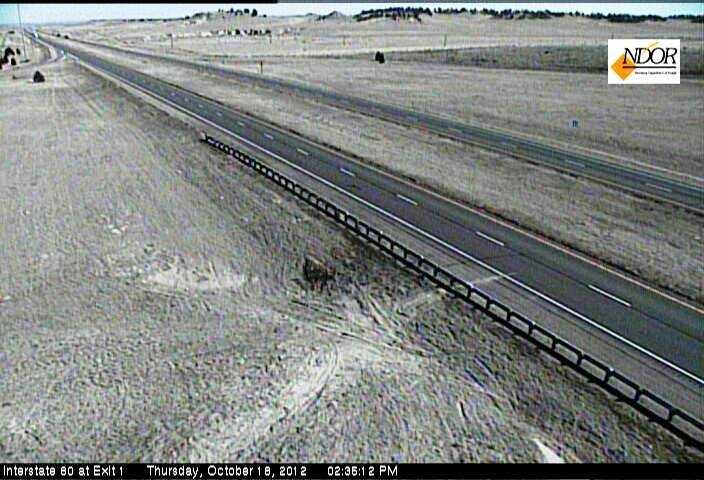 Interstate 80 at the Nebraska-Wyoming border appears deserted.