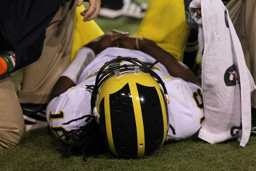 Robinson went down with a wrist or arm injury in the second quarter and would not return.