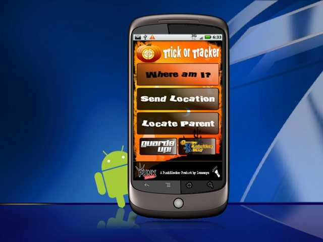 The free Trick or Tracker app allows parents to monitor the location of their children by providing location updates, which arrive via text messages.