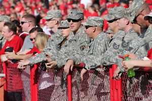 Veterans got special recognition during the game in advance of Veterans Day. A group of soldiers began doing push-ups when Nebraska scored later in the game, much to the delight of the crowd.