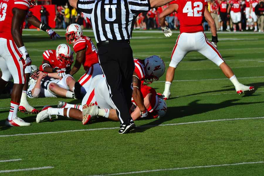 Will Compton jumped on a fumble in the Penn State red zone to get the ball back for the Huskers in the first half.