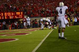 Husker receiver Jamal Turner pulls in a five yard touchdown pass to put Nebraska up 27-23 in the fourth quarter.
