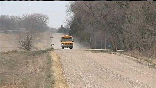 A rifle bullet has missed a school bus driver in eastern Nebraska.