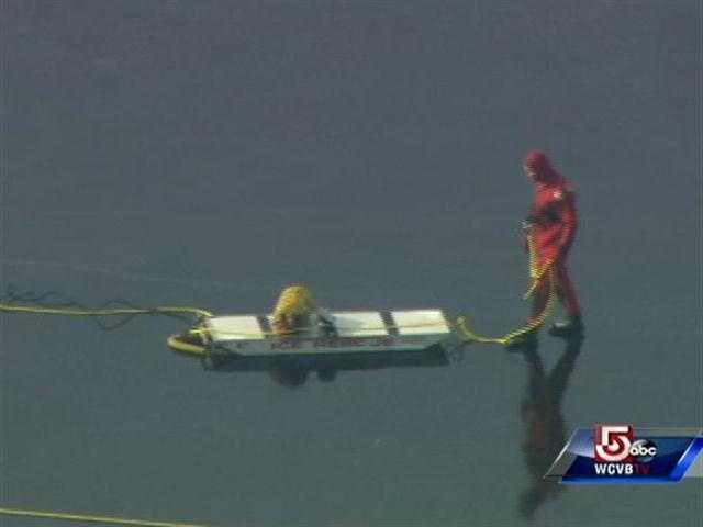 Crews in Waltham are working to rescue at least two deer stranded on the ice on Friday.